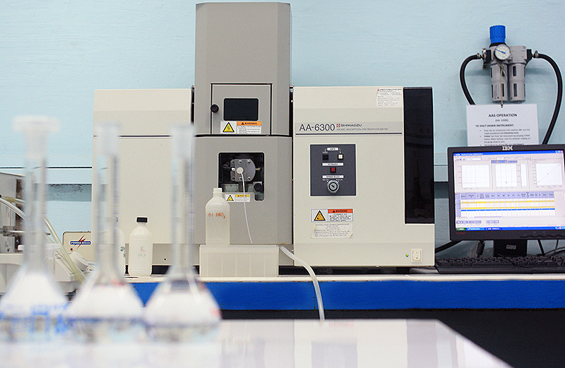 metal analysis is performed using a shimadzu aa-6300 atomic absorption spectrophotometer